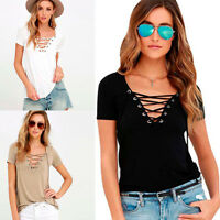 Sexy V Neck Womens Casual Loose Pullover T Shirt Short Sleeve Tops Shirt Blouse