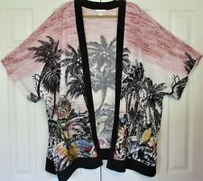 Women's Plus Size 2x/3x Kimono cjbanks Palm Trees NWOT