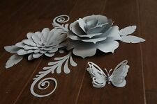 2 Gray Paper Flowers Decor Party Backdrop Wedding Baby Birthday