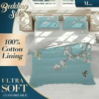 Cherry Blossoms Chinoiserie Blue Quilt Cover Double Bed Single Queen King Size