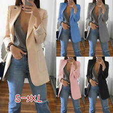 Women Long Blazer Casual Slim Business Lapel Suit Jacket Coat Outwear Fashion
