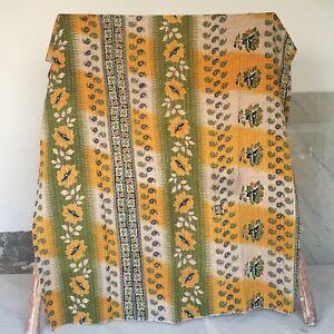 Bohemian Twin Vintage Kantha Quilt Blanket Boho Bedspread Throw Ralli Gudri 1 Pc