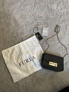 100%Authentic Furla Julia Leather mini CrossBody Black Bag