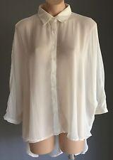Stylish COTTON ON Sheer Ivory 3/4 Dolman Sleeve Hi-Low Hem Blouse Size S/10