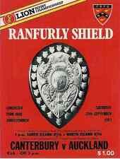 Canterbury v Auckland 24 Sep 1983 Ranfurly Shield, NZ Rugby Programme