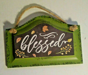 NEW Rustic 'Blessed' Small Green Retro Wood Sign Farm Spring Home Decor Gift NWT