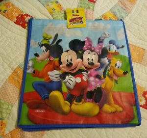 Disney Mickey Mouse & Friends Blue Tote Reusable Shopping Bag Party Gift Bag NEW