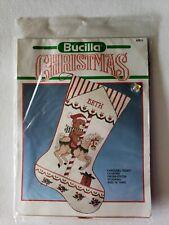 "Bucilla CAROUSEL TEDDY Counted Cross-Stitch 18"" Christmas Stocking Kit #82613"