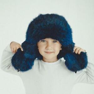 Toddler Winter Fur Hat Baby Ushanka Hat Aviator Hat Little Boy Hats (Blue)
