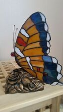 """Tiffany Style Stained Glass Butterfly Accent Table Lamp or Night Light 9""""x7"""""""