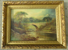 OUTSTANDING OIL ON CANVAS PAINTING OF A STONE BRIDGE OVER WATER SIGNED