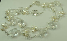 Statement Long Crystal Quartz & Pearl Necklace Sterling Silver Wedding Bridal