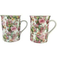 Springfield Floral Roses Tea Cups Set of 2 Made In England Vintage