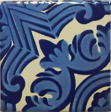 Mexican Tile Talavera Tiles High-Quality Hand Painted Blue Tile T-35