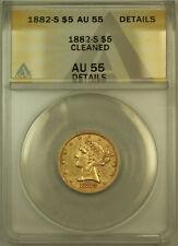 1882-S Liberty $5 Half Eagle Gold Coin ANACS AU-55 Details