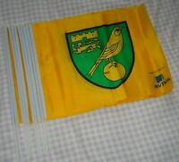 "Joblot x10 Official ""Aviva"" Norwich City FC Team Badge Hand Flags On Stick"