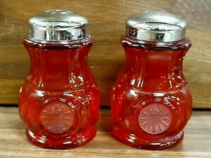 New Arch Red Dot Depression Vintage Style Milk Glass Salt and Pepper Shakers