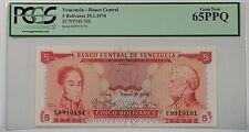 1974 Venezuela Banco Central 5 Bolivares Note SCWPM# 50h PCGS 65 PPQ Gem New