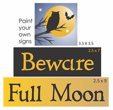 Joanie Halloween Stencil Beware Full Moon Owl Bat Tree Witch Theme Primitiv Sign