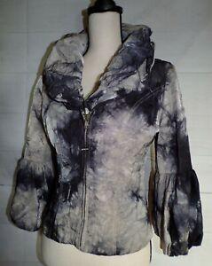 DESIGN TODAY'S sz S wearable art black & khaki tie dye wire rim collar jacket