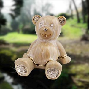 Teddy Bear Trinket Box / Pot / Pill Holder. Enameled. Jewelry Keepsakes Tablets