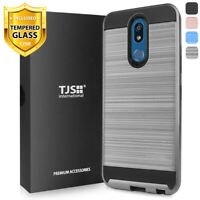For LG K40, K12 Plus, Solo, Phone Case TJS Legency Brushed +Tempered Glass