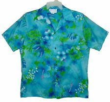 Sz L Vintage 60s-70s ROYAL HAWAIIAN Aloha Shirt TROPICAL FLORAL Aqua USA