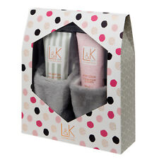 Womens Grey Slippers, Bath & Body Gift Set Shower Gel & Body Lotion Mothers Day