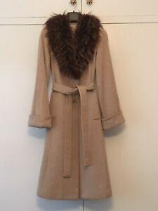 Vintage Saba Camel Wool Coat With Faux Fur Collar