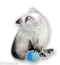 Zarah Zarlite Siamese CAT CHARM R Silver Plated Enamel Kitty Jump Ring - Box