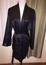 Victoria's Secret Black Silky Robe S M One Size NWT Kimono Wrap Spa