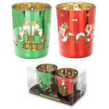 Christmas Elf Glass Votive Candle Light Lamp Holder Pair of Home Decoration Gift