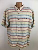 Territory Ahead Striped Shirt Men 2XL Earth Tone Short Sleeve Button Linen Blend