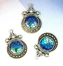 Mermaid Charms Fish Dragon Scale Pendants Flower Antique Silver Blue Teal AB