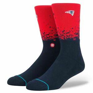 Stance Men Red Crew Knit NFL Football New England Patriots Fade Socks L 9-12 NEW