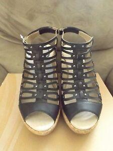 Jambu Lillian Women's Size 8 Shoes Black Wedge Heels with Memory Foam JB16LIL01