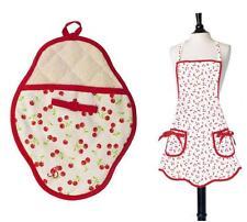 Jessie Steele Retro Style Red Cherries Bib Apron & Oven Mitt Valentine's Day NIP