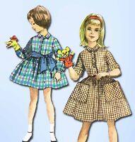 1960s Vintage Simplicity Sewing Pattern 3563 Toddler Girls Shirtwaist Dress Sz 2