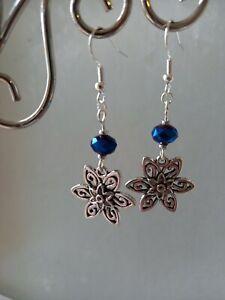 Pretty silver daisy flowers & blue bead long drop dangly earrings ~ boho hippy