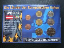More details for latvia 1992-2003 1 santims - 2 lati coin collection set ~ carded ~ coa info card