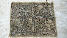 Antique Wool Felt DOILY Runner, Applied Dutch Scene, Windmill 13-1/2x 10-1/2
