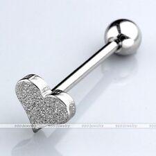 Heart Shape Sandblasted Silver Steel Labret Tongue Lip Rings Bars Body Piercing