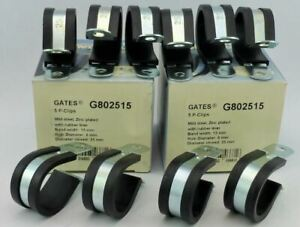 10x 25mm GATES Rubber Lined P-CLIPS Zinc Plated - Width 15mm, Hole 6mm G802515