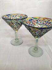 SET OF 2 MEXICAN CONFETTI WITH COLOR PEBBLES HANDBLOWN MARTINI GLASSES