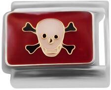 Skull and cross bones red  Italian Charm - classic 9mm link (W31)