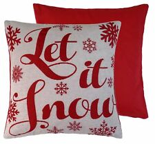 Relleno Let It Snow Rojo Navideño Crema TEJIDO CHENILLA 45.7cm Cojín de 45cm