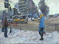 Prospekt Mira snow winter Cityscape by S. Avdeev Original RUSSIAN oil Painting