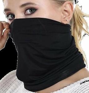 Black 100% Polyester Neck Gaiter Soft Comfortable Wind Sun UV Blocking (S)