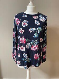 Joules Womens Keegan Crepe Shell Top - Navy Floral - 10 - Long Sleeved top