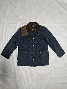 Ralph Lauren polo boys size 7 navy blue quilted coat jacket good condition